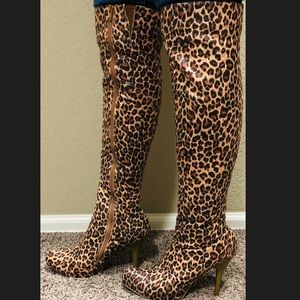 Alba over the knee leopard stiletto boots 9